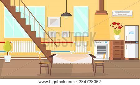 Room Interior Flat Design Vector Illustration Modern Kitchen Dining Clipart Pictures