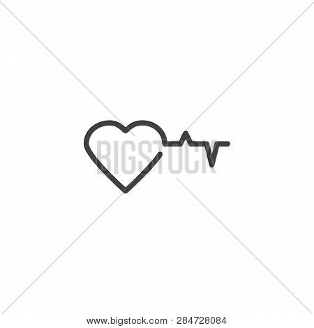 Heart And Heartbeat Line Icon. Linear Style Sign For Mobile Concept And Web Design. Heart Beat Cardi