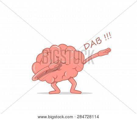 Cartoon Brain Dancing Dab. Isolated Character Brain The Dancing Quirky For Hype. Vector Illustration