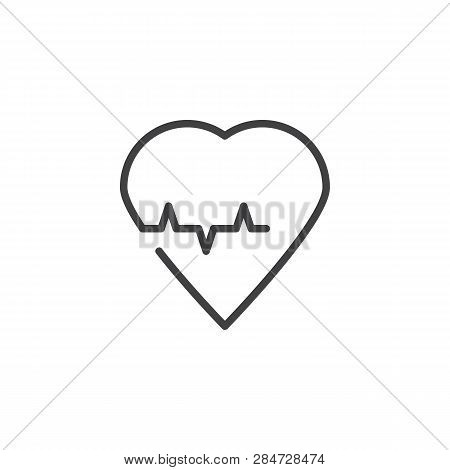 Heart Cardiology Line Icon. Linear Style Sign For Mobile Concept And Web Design. Heart Beat Pulse Ou