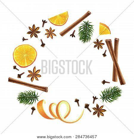 Wreath. Round Garland Of Spices, Orange And Fir. Christmas Decoration. Vector Illustration. Differen