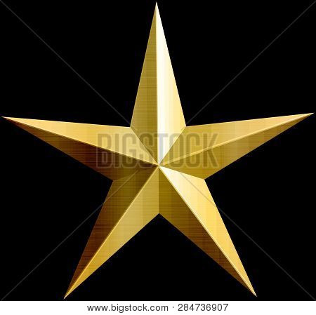 Golden Metallic Star Shape Elegance Celebration Bravery