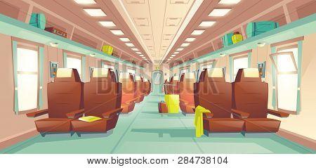 Long Distance Travel, Subway Train Spacious Wagon Interior Cartoon Vector With Rows Of Comfortable D