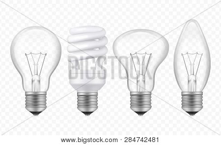 Lighting Bulb. Realistic Glass Transparent Lamp Of Different Styles Business Creative Ideas Symbols