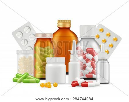 Medical Bottles And Pills. Medications Aspirin Antibiotic Drugs Tablets Vector Realistic Health Care