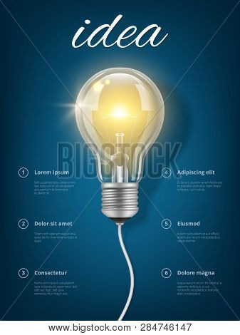 Bulb Idea. Creative Business Concept With Picture Of Light Glass Transparent Bulb Vector Thinking Ed