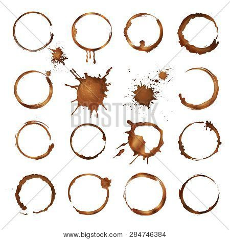 Coffee Circles. Dirty Rings Splashes And Drops From Tea Or Coffee Cup Vector Template. Mug Coffee St