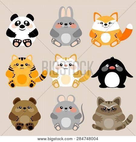 Collection Of 6 Vector Cute Kawaii Baby Animals. Eps 10