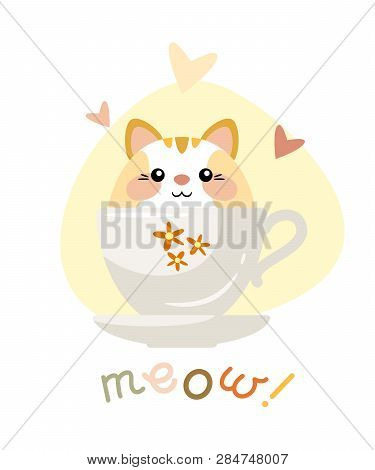 Cute Kitten Sitting In A Cup. Vector Illustration. Eps 10