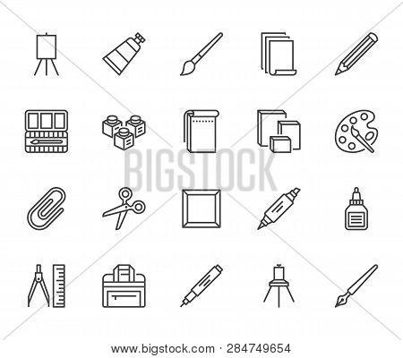 Art Supplies Flat Line Icons Set. Oil Paints, Watercolor, Drawing Paper, Sketchbook, Pallette, Stati