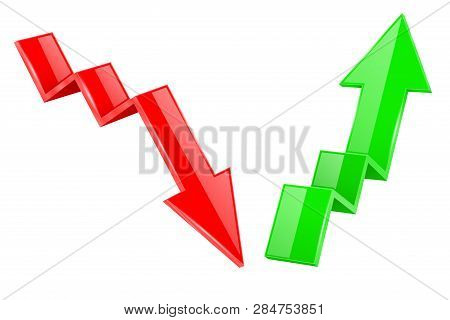 Up And Down Arrows. 3d Financinal Indication Graph Signs. Vector Illustration Isolated On White Back