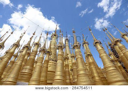 Shwe Indein Pagoda In The Indein Village At Inle Lake,shan State,myanmar
