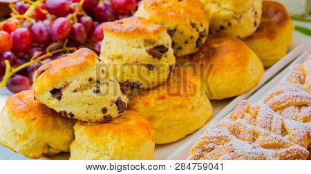 Breakfast Danish Pastry And Scone - Danish Pastry And Chocolate Chip Scone For Catering At Spring Fe
