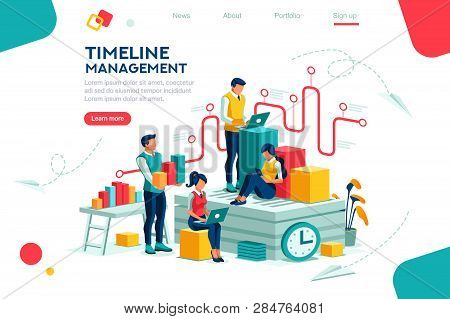 Document Management, Team Thinking, Brainstorming Analytics Information About Company. Clock Always