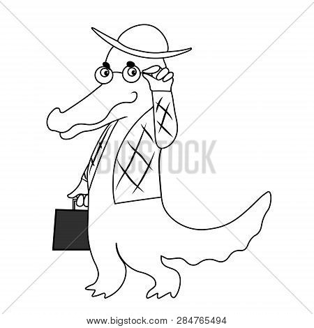 Crocodile Dandy In Trendy Glass And Fashion Suit Critic Looks At You. Vector Hand Drawing Black Sket