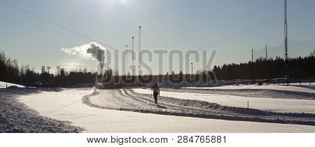 Umea, Sweden On February 06. View Of An Unidentified Cross-country Skier In Action On February 06, 2