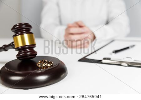 Judge Gavel Deciding On Marriage Divorce. Hands Of Judge, Signing Decree Of Divorce, Dissolution, Ca