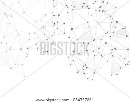 Block Chain Global Network Technology Concept. Network Nodes Greyscale Plexus Background. Informatio
