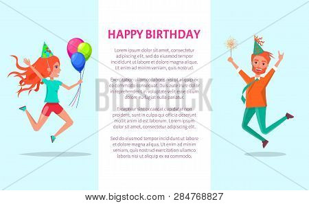 Happy Birthday Greeting Card, Redhead Man And Woman Merrily Jump On Bday Party. Cartoon People In Fe
