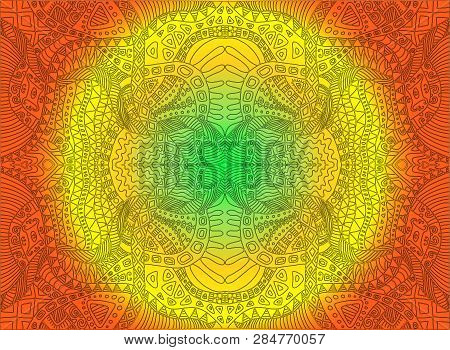 Bright Sunny Decorative Psychedelic Ornament, On Green Yellow Orange Colors Gradient Background. Vec