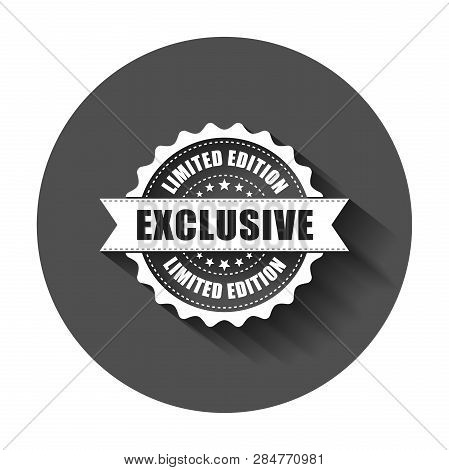 Exclusive Grunge Rubber Stamp. Vector Illustration With Long Shadow. Business Concept Exclusive Limi