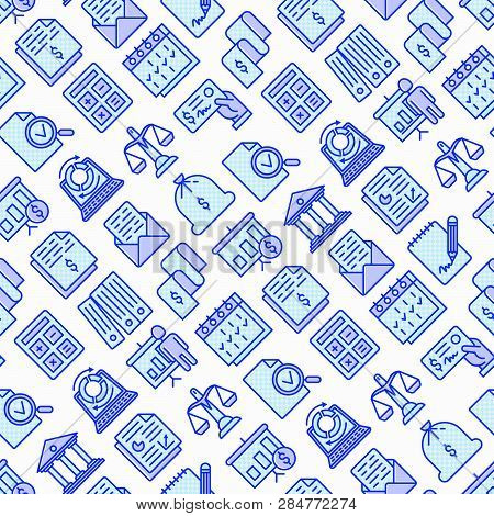 Financial Report Seamless Pattern With Thin Line Icons Set: Bank, Financial Analytics, Calculate, Si