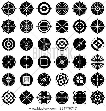 Crosshair Icons Set. Simple Set Of Crosshair Vector Icons For Web Design On White Background