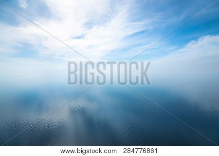 Beautiful Impressive Seascape In The Atlantic Ocean. Seascape With Cloudy Sky And Light Shadows On T