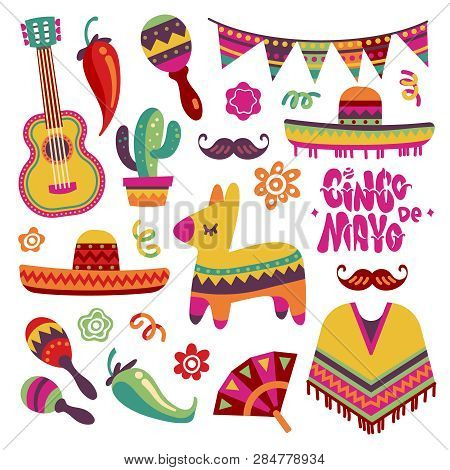 Mexican Fiesta Set. Cinco De Mayo Party Elements Sombrero, Pinata And Chili Pepper, Guitar Vector Co