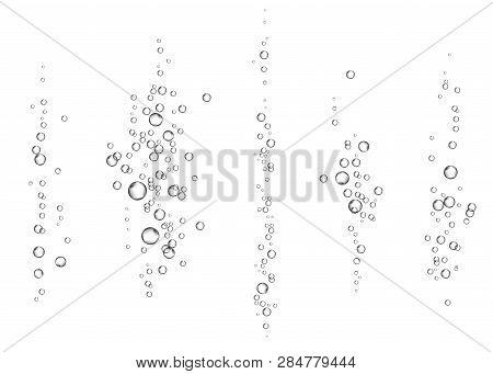 Effervescent drink. Underwater fizzing air bubbles on white  background. Fizzy sparkles in water, sea, aquarium, ocean. Fizz. Undersea vector texture. poster