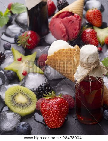 Homemade Fruit Ice Cream And Fresh Fruits With Ice Cubes And Fruit Juice
