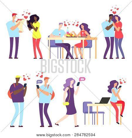 Vector International Online Dating, International Relationships Concept. Illustration Of Relationshi