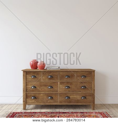 Farmhouse Entryway. Wooden Dresser Near White Wall. Interior Mockup. 3d Render.