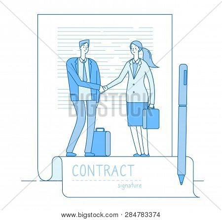 Electronic Signature Concept. Businessman Lawyer Contract Meeting Handshaking. Finance Investments,