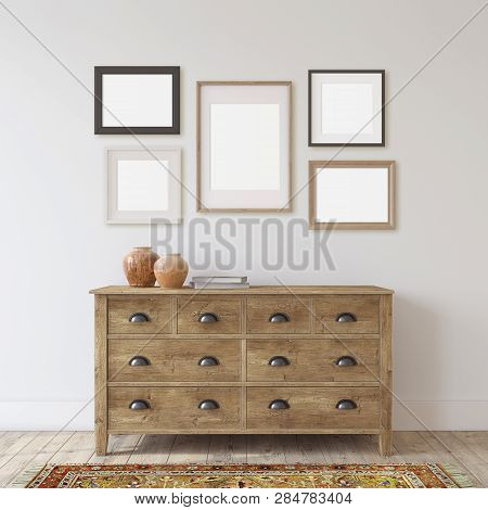 Farmhouse Entryway. Wooden Dresser Near White Wall. Frame Mockup. Several Different Frames On The Wa