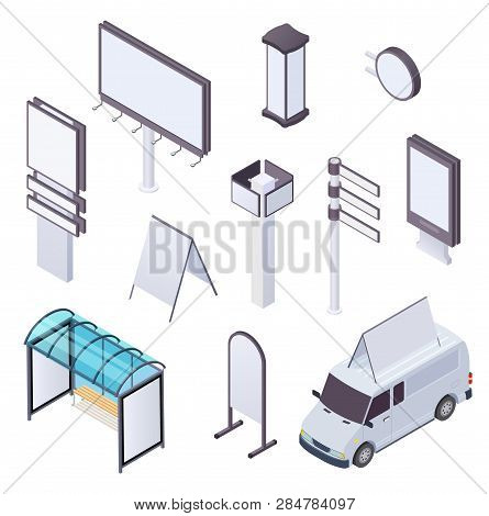 Isometric Billboard. Advertising Citylight Poster Billboards Outdoor Poster Advertisement Banner Str