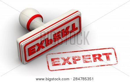 Expert. Seal And Imprint. Red Stamp And Imprint Expert On White Surface. Isolated. 3d Illustration