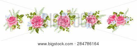 Vintage Roses, Seamless Wedding Pattern. Vector Pink Flower, Green Leaf. Elegant Vintage Card Or Inv