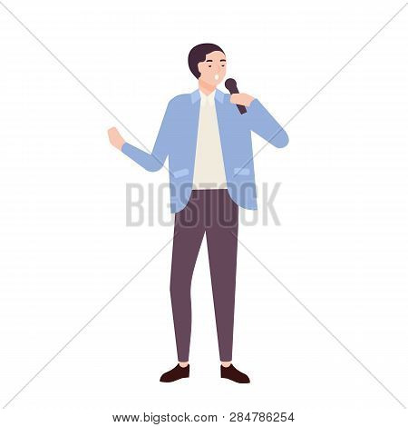 Man singer, jazz, soul or blues vocalist wearing elegant suit and singing ballad in microphone. Cute funny male cartoon character performing song on stage. Flat cartoon colorful vector illustration. poster