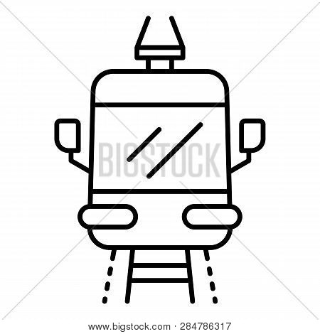 Front Tramway Icon. Outline Front Tramway Vector Icon For Web Design Isolated On White Background