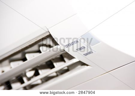 White air conditioner unit inside block set poster