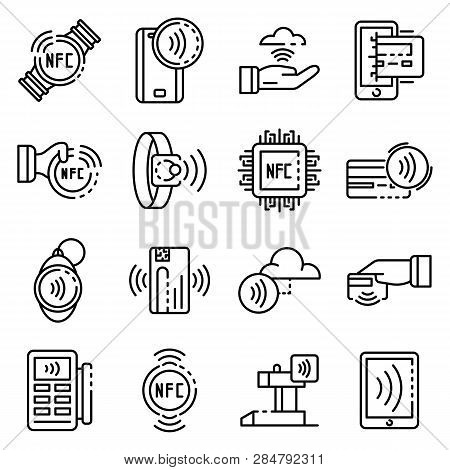 Nfc Technology Icons Set. Outline Set Of Nfc Technology Vector Icons For Web Design Isolated On Whit