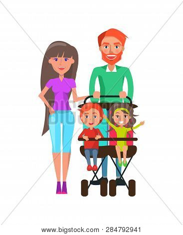 Father And Mother Strolling With Kids Sitting In Perambulator Vector. Brother And Sister In Pram Lau