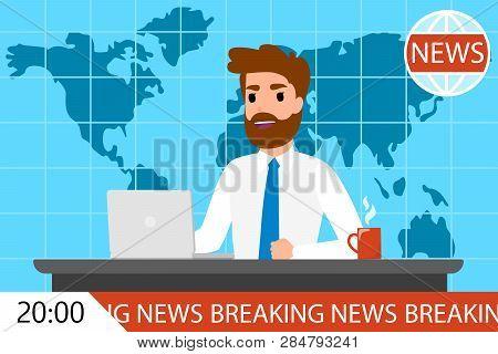 Breaking News Man On Tv. Male Newscaster