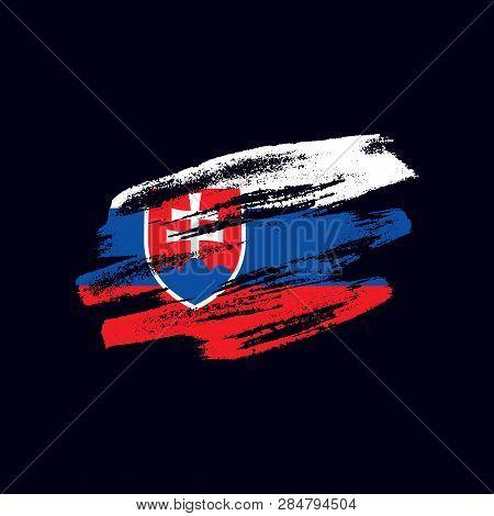 Grunge Textured Slovak Flag. Vector Brush Painted Flag Of Slovak Republic (slovakia) Isolated On Dar