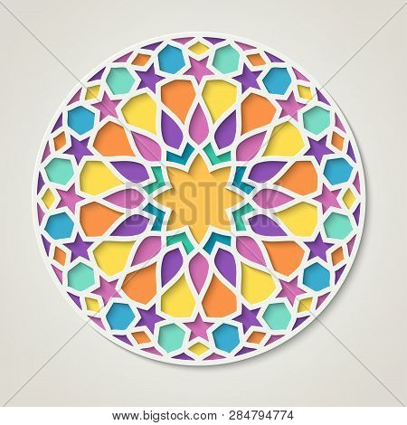Arabic Round Colorful Pattern, Traditional Eastern Ornament, Eps 10 Contains Transparency.