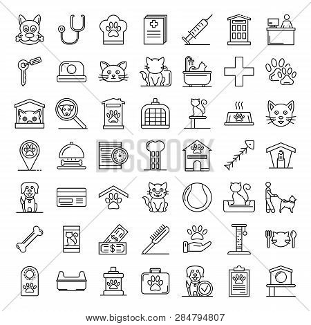 Pets Hotel Icons Set. Outline Set Of Pets Hotel Vector Icons For Web Design Isolated On White Backgr
