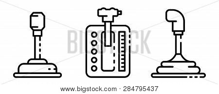 Gearbox Icons Set. Outline Set Of Gearbox Vector Icons For Web Design Isolated On White Background