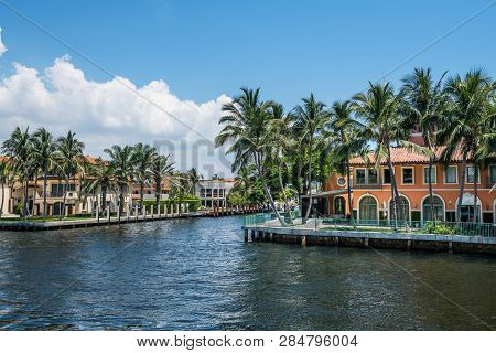 Fort Lauderdale, Florida - July 14 - Beautiful Mansions With Palm Trees Along The Canal On July 14 2
