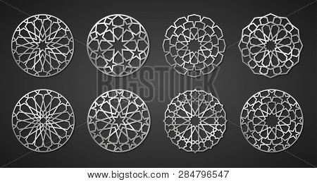 Set Of Silver Arabic Round Patterns, Traditional Eastern Ornaments, Eps 10 Contains Transparency.